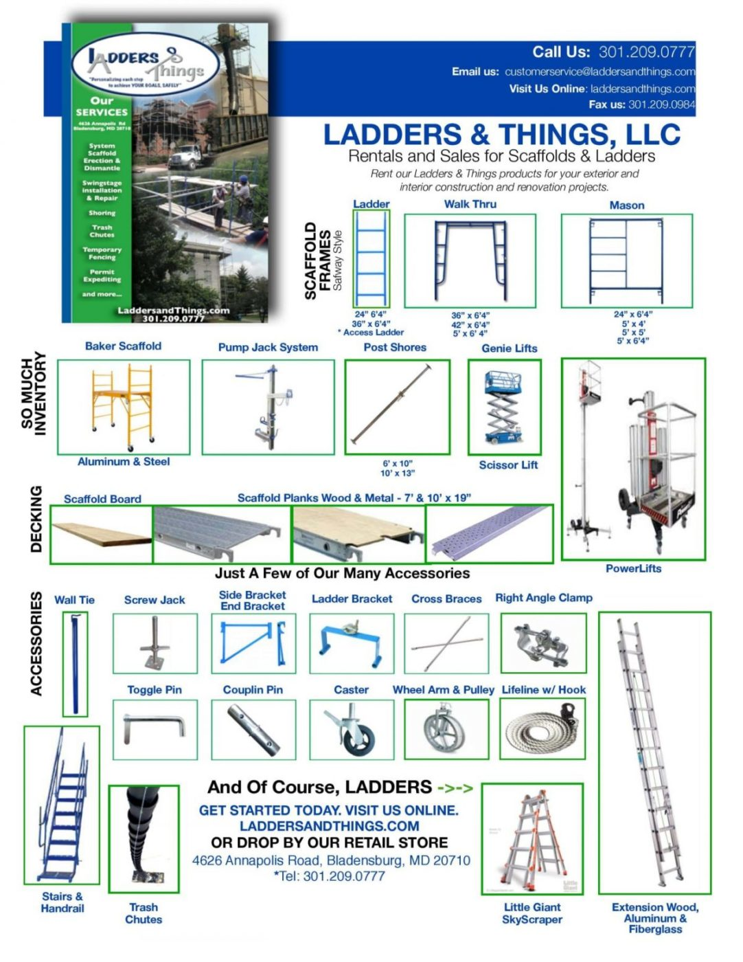 Rentals sales brochure ladders things llc for A frame ladder safety tips